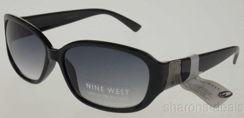 Nine West Oval Sunglasses Black Silver Gray 100% UV Case 60-16-145 Plastic Large - FUNsational Finds - 1