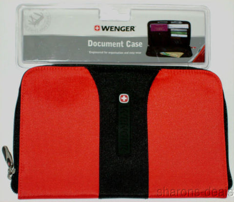 Lot 2 Wenger Travel Document Case Red Black Swiss Gear Carabiner Belt Loop Mesh - FUNsational Finds