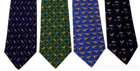 Lot 4 Olimpo 100% Silk Neck Ties Birds Blue Navy Green Dress Business Classic - FUNsational Finds - 1