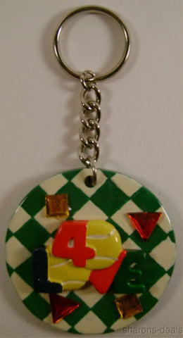 Lot 5 Tennis Ball Silver Keychains 40 Love Plastic Resin Jewel Gift Made US NEW - FUNsational Finds