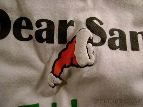 Dear Santa Hat T Shirt I Want It All Adult Medium White Short Sleeve Christmas - FUNsational Finds - 1