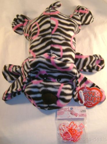 Plush Love Pups Pillow Dog Black White Zebra Pink Silicone Rubber Band Bracelets - FUNsational Finds - 1