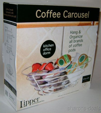 Coffee Carousel Chrome Lipper Organizer Steel Rack K-Cup Holder Pods Rotates 360 - FUNsational Finds