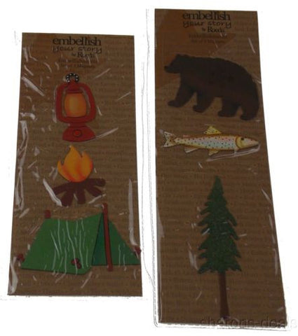 Lot 4 Embellish Your Story Roeda Magnet Sets Camping Fishing Bear Tent Campfire - FUNsational Finds - 1