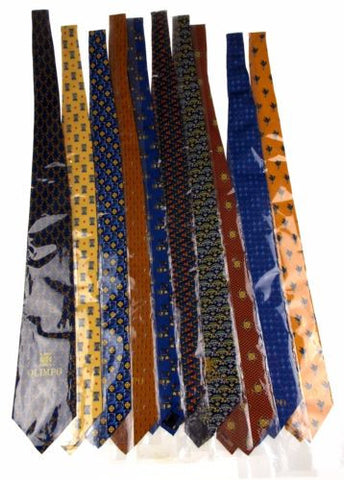 Lot 10 Olimpo 100% Silk Neckties Blue Brown Yellow Orange Classic Dress Business - FUNsational Finds - 1