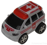Lot 6 Ambulance White Red 4WD Truck Van Pull Back Car Toy Party Favor Runs Moves - FUNsational Finds - 1
