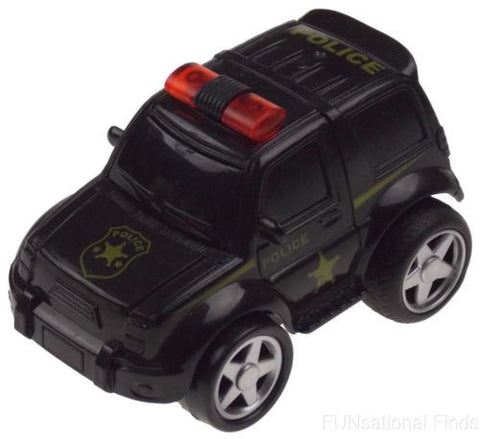 Lot 6 Police Black 4WD Super Truck Jeep Pull Back Toy Car Party Favor Moves Runs - FUNsational Finds - 1