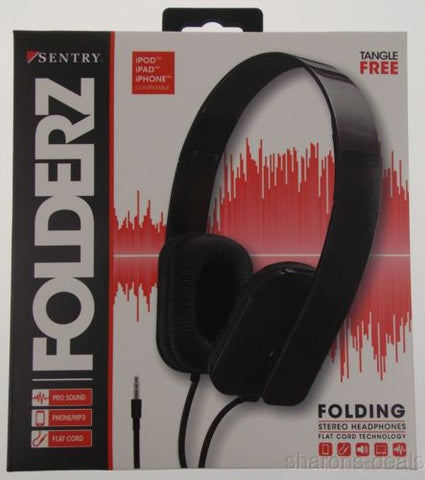 Sentry Folderz Folding Stereo Headphones Black DLX20 Tangle Free Flat Cord 3.5mm - FUNsational Finds - 1