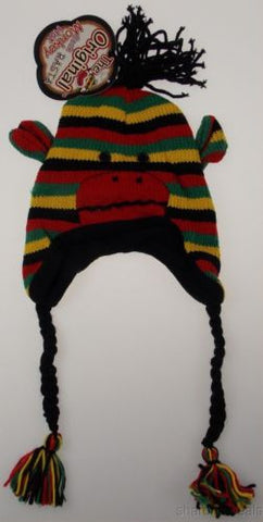 Lot of 2 Sock Monkey Hat Rasta Reggae Knit Fleece Lined Red Black Yellow Green - FUNsational Finds - 1