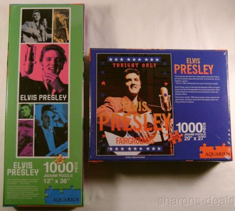 Elvis Presley Jigsaw Puzzles Set of 2 1000 Pc 20x27 12x36 Aquarius Tonight Only - FUNsational Finds - 1
