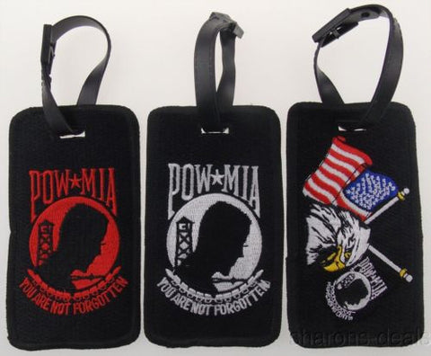 Set 3 USA POW MIA Eagle Flag Luggage Tags Not Forgotten Patriot Embroidered NEW - FUNsational Finds - 1