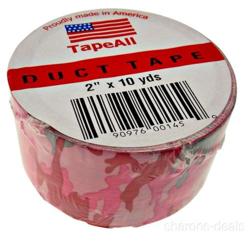 Lot 6 Pink Camo Duct Tape 2 in x 10 Yds USA TapeAll Fashion Decorating Crafts - FUNsational Finds - 1