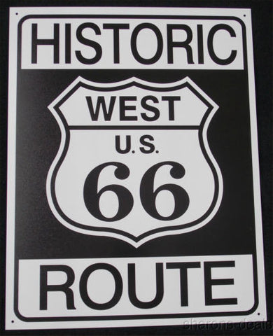 Historic Route 66 West US Tin Sign Garage Bar Wall Decor 12.5 x 16 Man Cave NEW - FUNsational Finds - 1