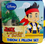 Disney Jake Never Land Pirates Throw Pillow Set Hugger Plush Blanket Soft Cuddly