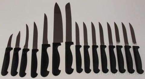 15 Pc Knife Set Professional Chef Stainless Steel Cutlery Kitchen Steak Carving - FUNsational Finds - 1