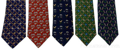 Lot 5 Olimpo 100% Silk Neckties Birds Navy Blue Green Red Classic Dress Business - FUNsational Finds - 1
