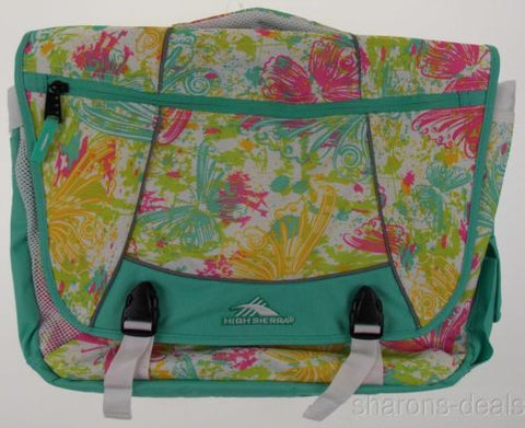 High Sierra Tank Messenger Laptop Bag Turquoise Butterfly Padded Strap Pockets - FUNsational Finds - 1