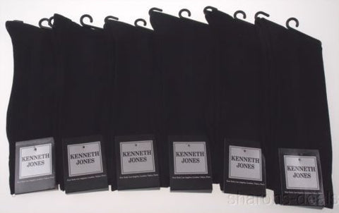 6 Pairs Kenneth Jones Mens Dress Socks Black KJ14 Polyester Ribbed Fashion NEW - FUNsational Finds - 1