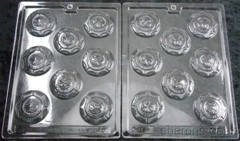 Lot 2 Firemans Badge Round Chocolate Mold Life Of The Party 3D J9 Candy Soap NEW - FUNsational Finds - 1