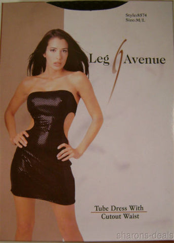 Leg Avenue Tube Dress Cutout Waist Sides Medium Large 8574 Nylon Spandex M L NIP - FUNsational Finds - 1