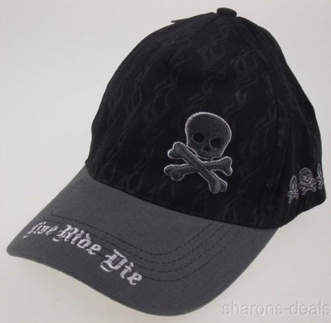 Rolling Steel Thunder Live Ride Die Adult Biker Hat Cap Black Skull Motorcyle - FUNsational Finds - 1