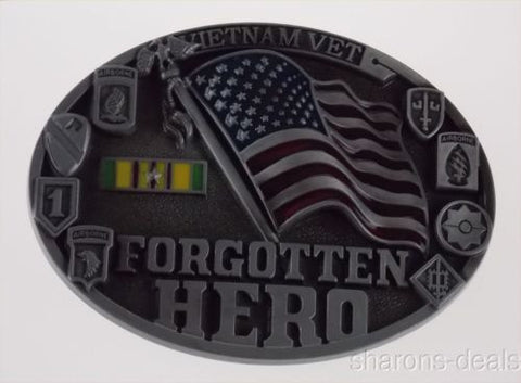 Vietnam Vet Forgotten Hero Belt Buckle Unit Patches Service Ribbon American Flag - FUNsational Finds - 1