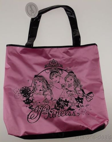 Disney Princess Large Tote Shopping Bag Pink Black Purse Hobo Handbag Satchel