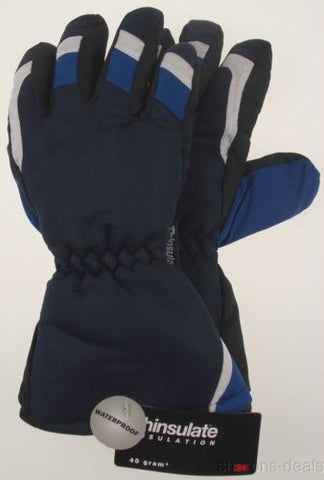 Joe Boxer Boys Blue Black Ski Gloves 3M Thinsulate Waterproof Medium Snow NEW - FUNsational Finds - 1