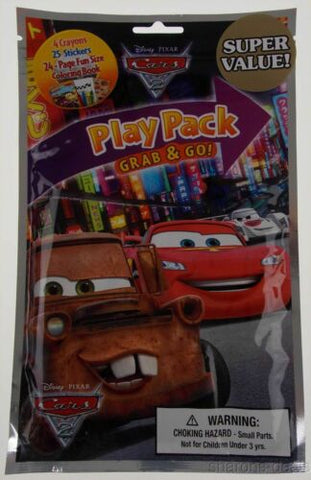 Set of 9 Disney Pixar Cars Play Pack Grab Go Coloring Book Crayons Stickers