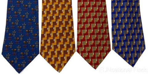 Lot 4 Olimpo 100% Silk Neckties Street Lights Lamp Post Red Blue Gold Mens Dress - FUNsational Finds - 1