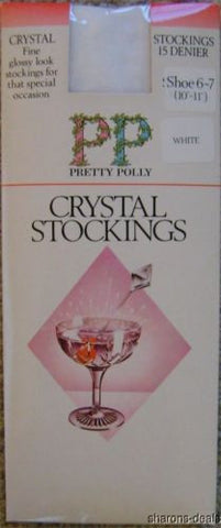 "Lot 4 Pair Pretty Polly Crystal Gloss Stocking White 15 Denier 6-7 10""-11"" Sheer - FUNsational Finds - 1"