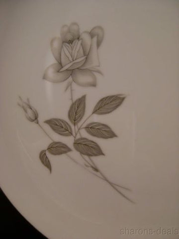 Queens Royal Japan Rosebud Platinum Rose Dinner Plate Silver White Fine China - FUNsational Finds - 1