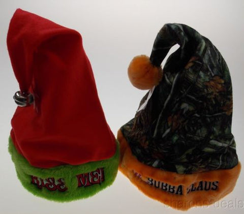 Lot 2 Santa Hats Adult Kiss Me Jingle Bell Mrs Bubba Claus Camo Plush Christmas - FUNsational Finds - 1