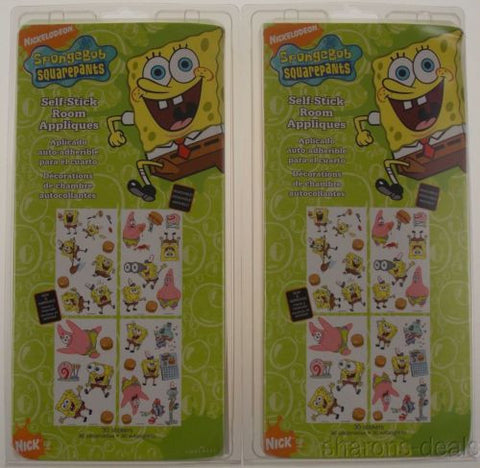 Set 2 Nickelodeon Spongebob Squarepants Self Stick Room Appliques Removable NEW - FUNsational Finds - 1