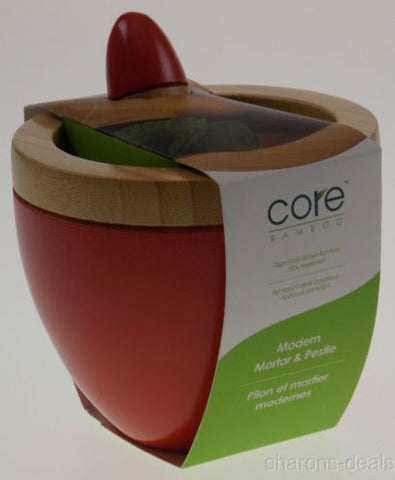 Core Bamboo Modern Mortar & Pestle Strawberry Red Cooking Spices Grinder Gadget - FUNsational Finds