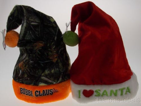 Set 2 Childs Christmas Hats Kids Bubba Claus Jr Camo Orange I Love Santa Holiday - FUNsational Finds - 1