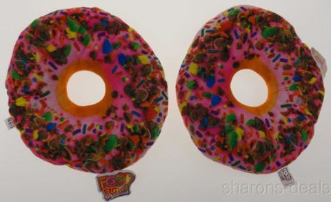 Set 2 Donuts Pink Icing Sprinkles Pillows Food Fight Soft Realistic Throw Kids - FUNsational Finds - 1