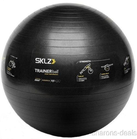 SKLZ Fitness Trainer Stability Ball Black 65 CM Self Guided Exercise Strengthen - FUNsational Finds