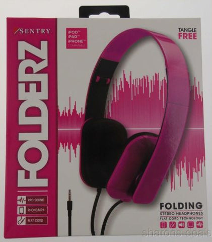 Sentry Folderz Folding Stereo Headphones Pink DLX20 Tangle Free Flat Cord 3.5 mm - FUNsational Finds - 1