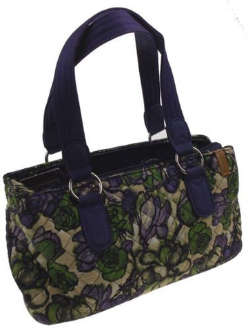 Donna Sharp Monterey Reese Purse Handbag Quilted Floral Purple Green Adjustable - FUNsational Finds - 1