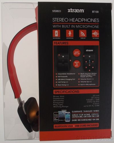 c82caeed9db Sentry Xtraem Bluetooth Stereo Headphones Red Black Microphone Wireless  BT100