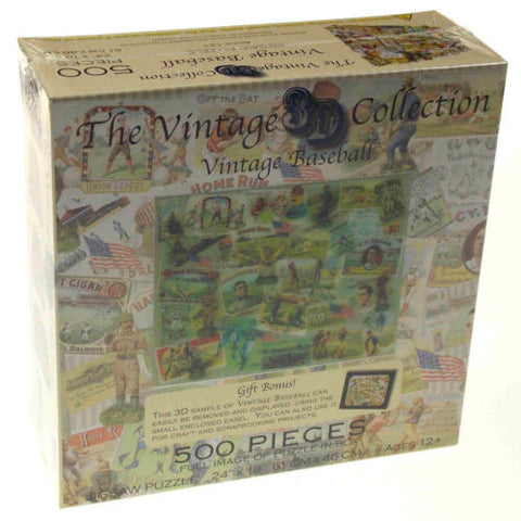 "Vintage Baseball Jigsaw Puzzle 18""x24"" 500 Piece 3D Collection Picture Easel NEW - FUNsational Finds - 1"