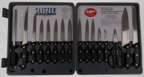 Slitzer 17 Pc Professional Kitchen Knife Set Cutlery Stainless Steel Full Tang - FUNsational Finds - 1