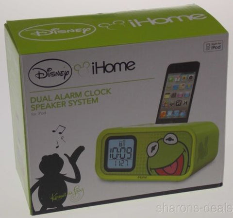 Disney iHome Kermit The Frog Dual Alarm LED Clock Speaker System for iPod 30 Pin
