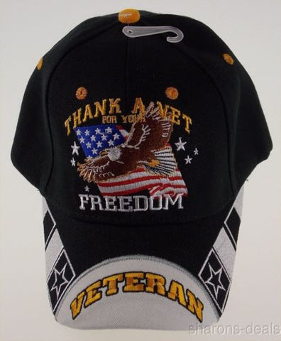 Thank A Vet For Your Freedom Veteran Military Baseball Cap Hat Black Embroidered - FUNsational Finds - 1
