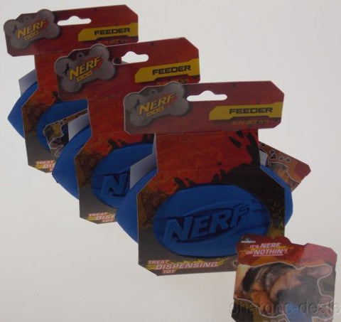 "Lot 3 Nerf Dog Blue Dispenser Feeder Toy 5"" Hard Rubber Football Treat Throw NEW - FUNsational Finds - 1"