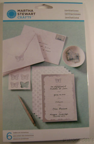 Lot 6 Martha Stewart Crafts Butterfly Invitations 36 Envelopes Seals Kit DIY NEW - FUNsational Finds - 1