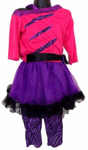 Leg Avenue Girls Purple Pink Halloween Costume Off Shoulder Dress Pants Purim - FUNsational Finds - 1