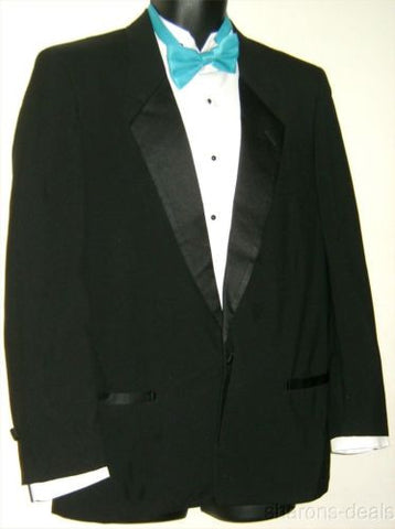 Pierre Cardin Black 42S Tuxedo 1 Button Jacket Coat Wedding Formal Wool Satin US - FUNsational Finds - 1
