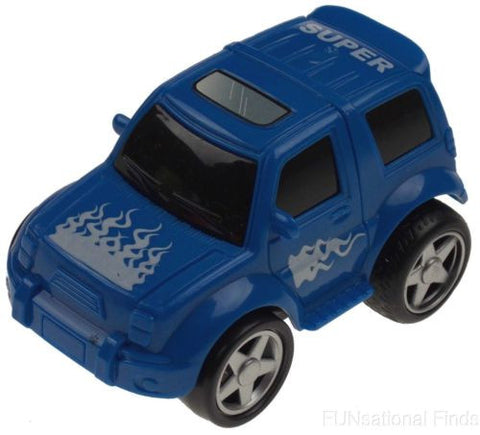 Lot 5 Blue 4WD Super Truck Jeep Flames Pull Back Toy Car Party Favor Moves Runs - FUNsational Finds - 1